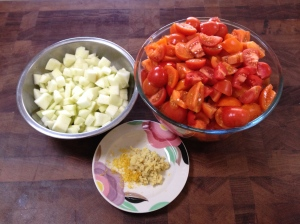 Fresh ingredients for fruity red tomato relish