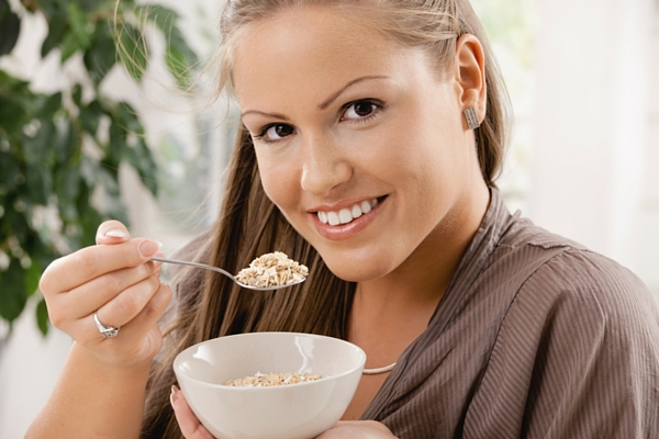 Mindfully eating a bowl of breakfast cereal
