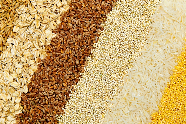 Rows of whole grains