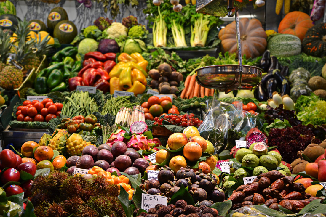 Fresh fruit and vegetables on display in a Spanish market