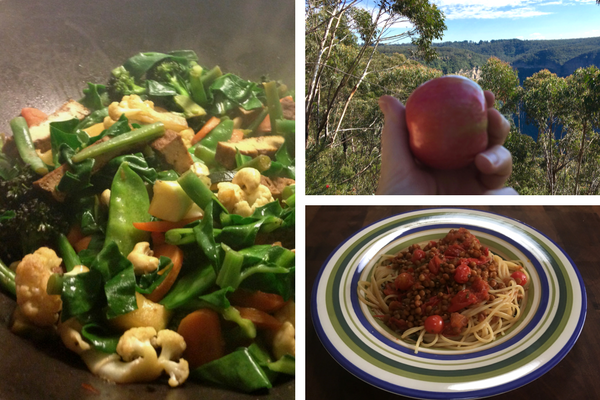 Three sexy fibre foods, stir-fry, lentil bolognese and a fresh red apple