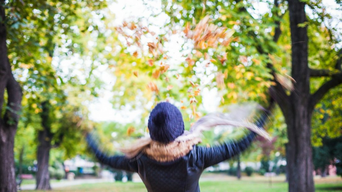 Woman in a park throughing autumn leaves in the air