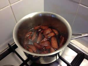 Cooked pears in red wine