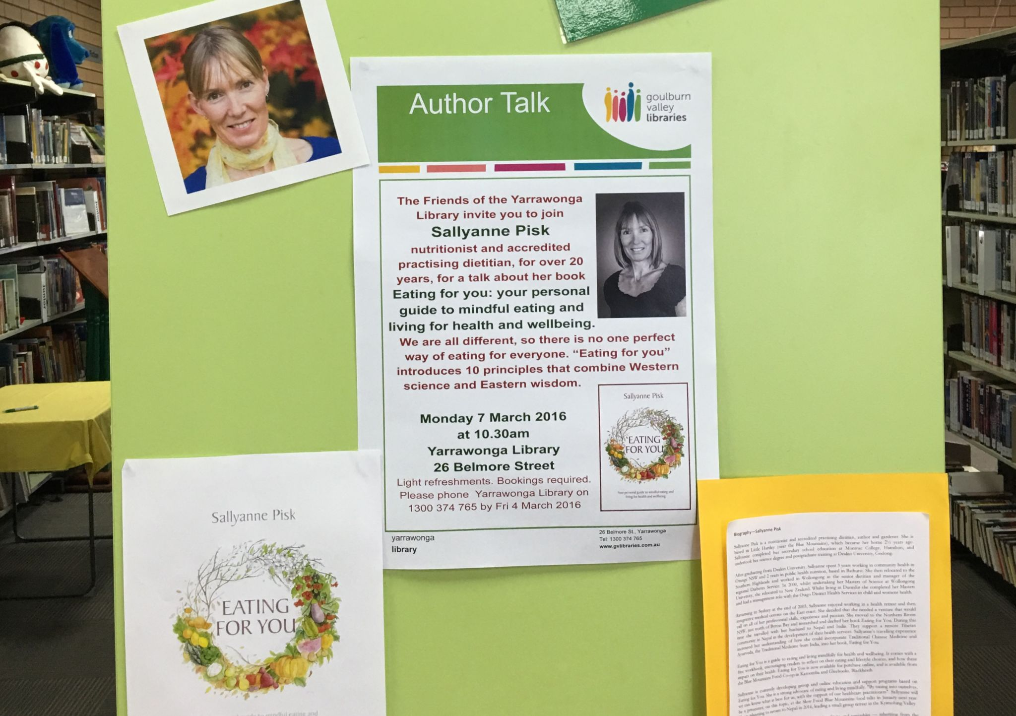 Author talk display at Yarrawonga Library