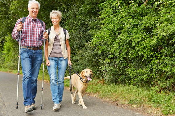 Walking couple with dog