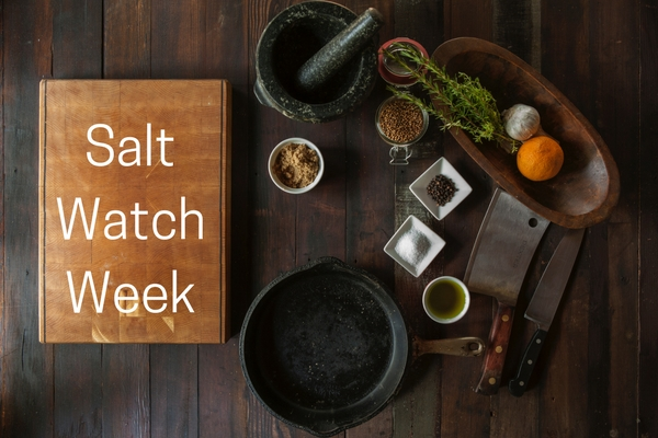 Salt watch week - bench with chopping board, salt, herbs, spices and oil