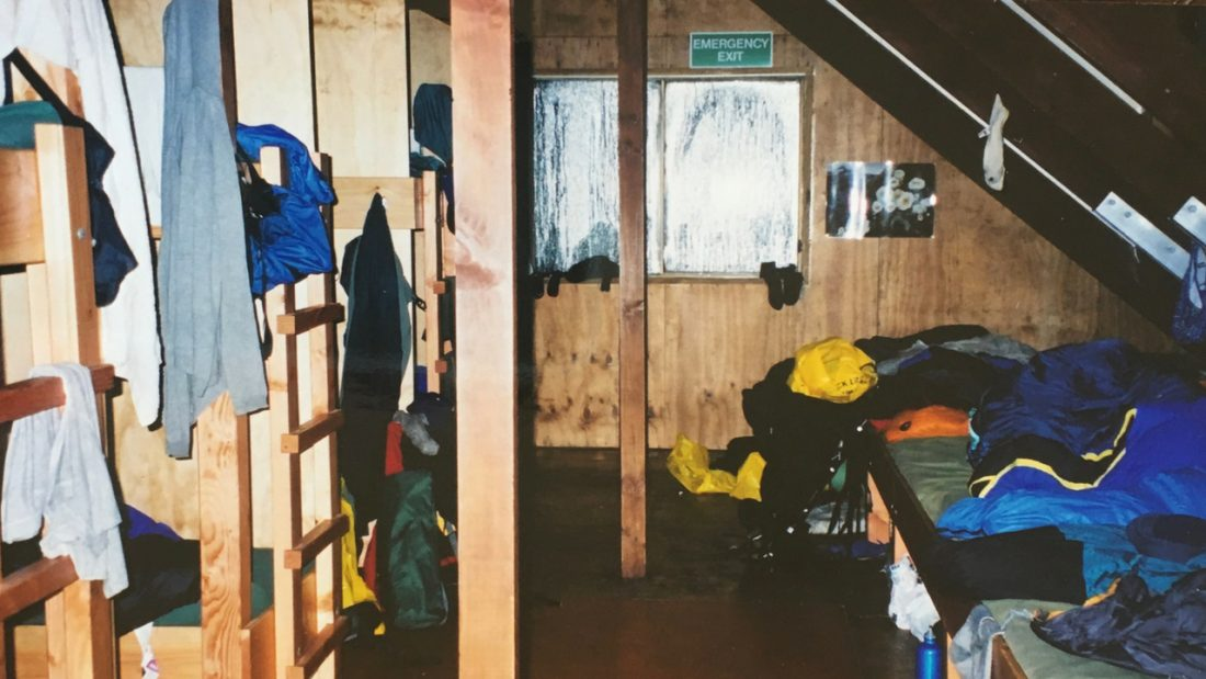Wet clothes drying in the bunk room at Lake Mackenzie Hut