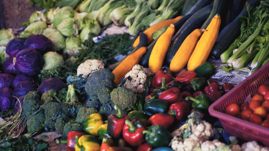 Magnesium rich plant foods at a market