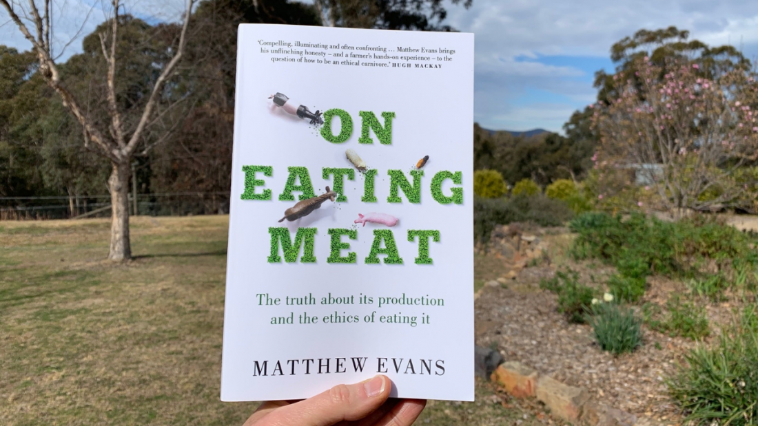 Front cover of Matthew Evan's book On Eating Meat