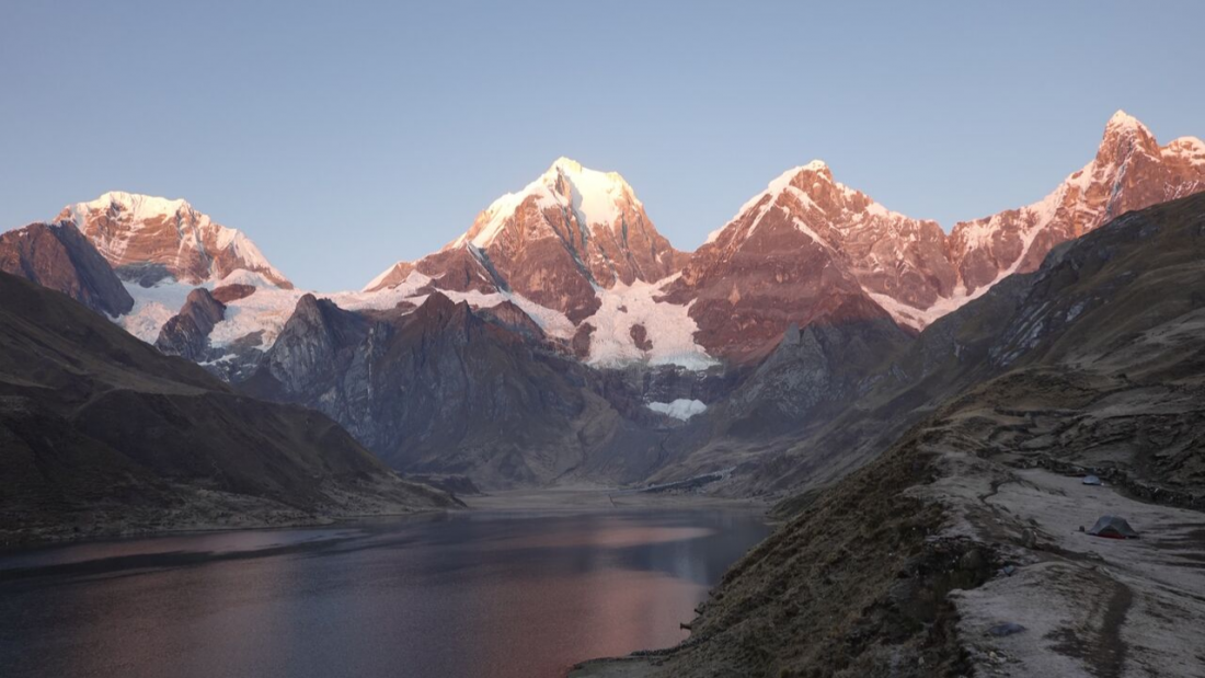 Sunrise views at Lake Carhuacocha Huayhuash Trek
