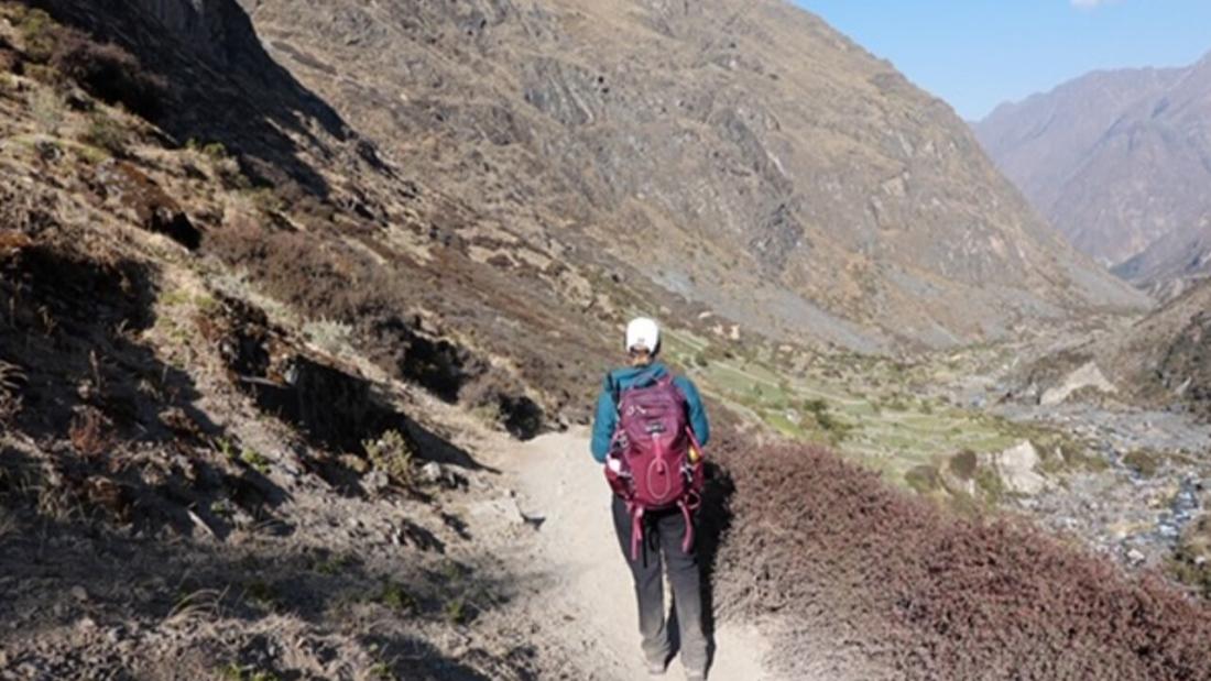 Track heading down to the village of Huayllapa Huayhuash Trek