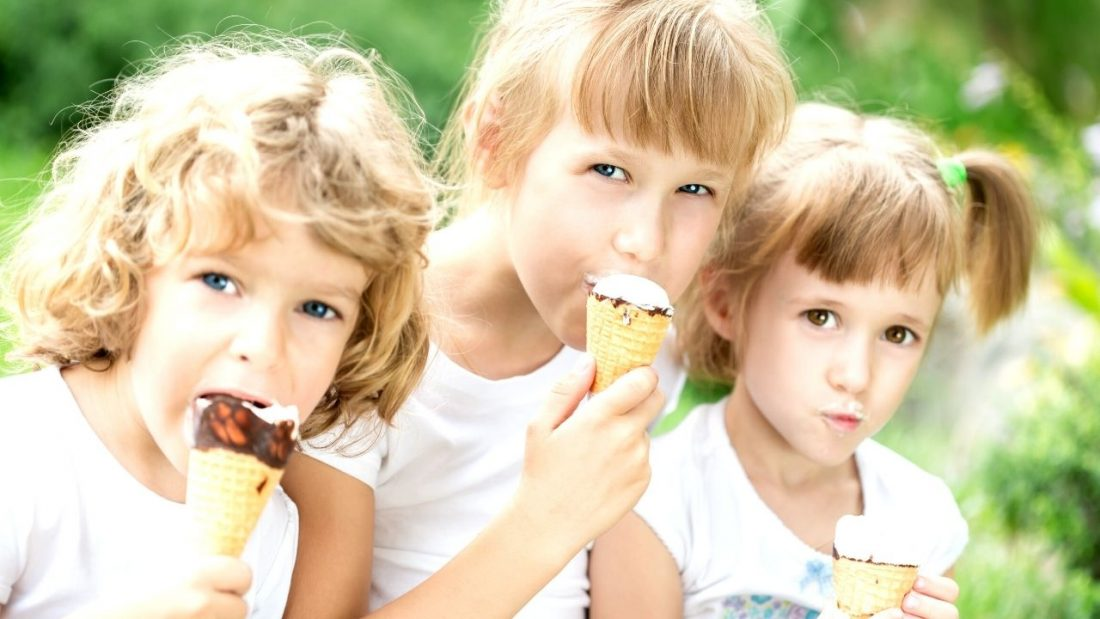 Three children eating icecreams food rules before age 10