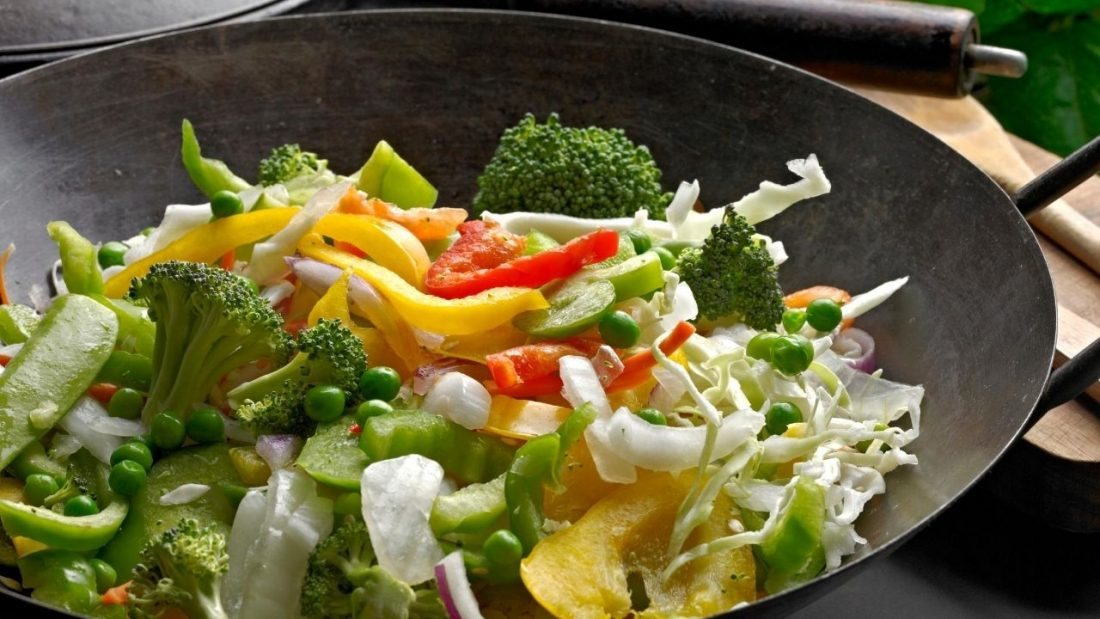 Raw mixed vegetables in a wok